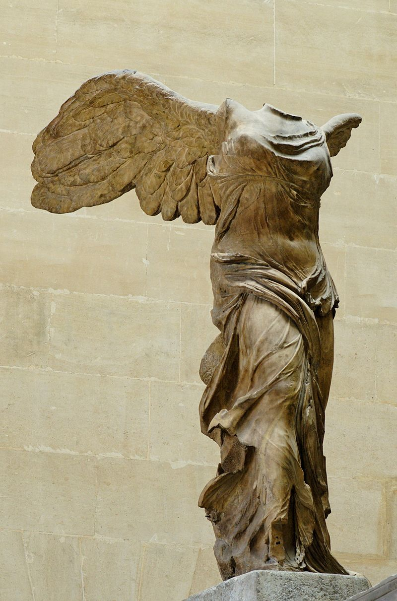 The Louvre Museum. The Nike of Samothrace (winged Victory), marble, circa  190 BC.