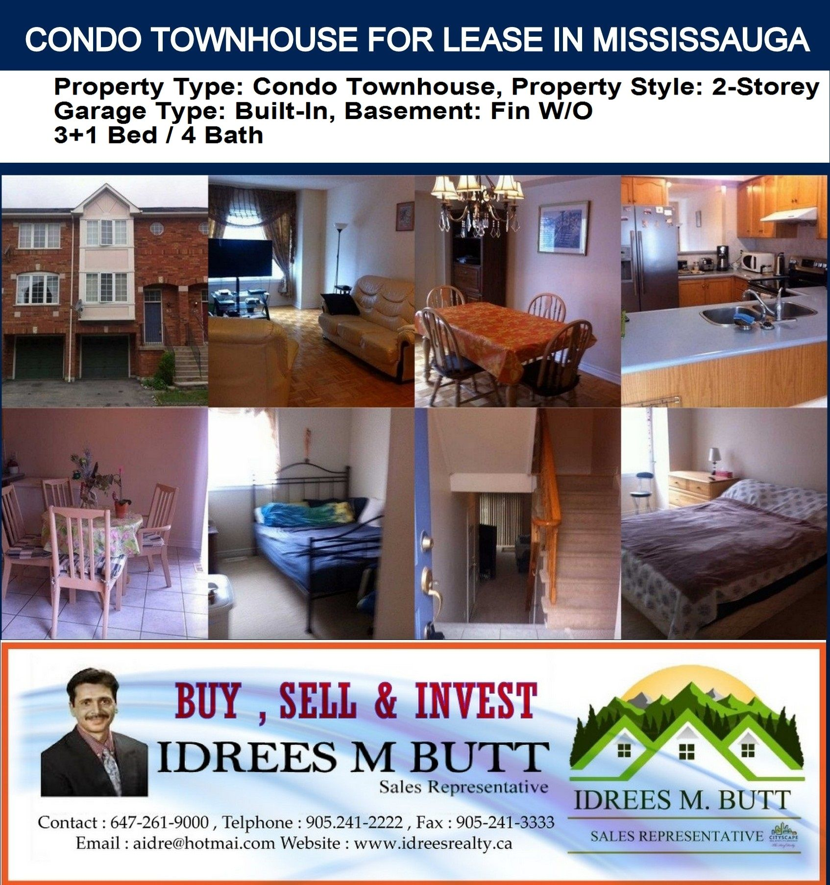 \Condo Townhouse 2- Storey For Lease. Price: $2,000