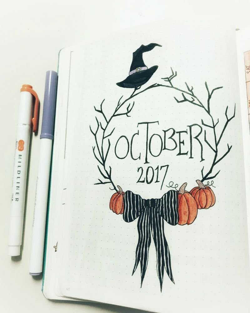Halloween theme bullet journal layouts including October monthly cover page by @murs_bullets_journal42 #bulletjournals
