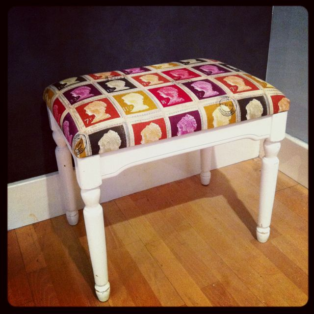 Reupholstered Distressed Piano Stool By Nina S Apartment Piano Stool Piano Bench Upcycle Chair