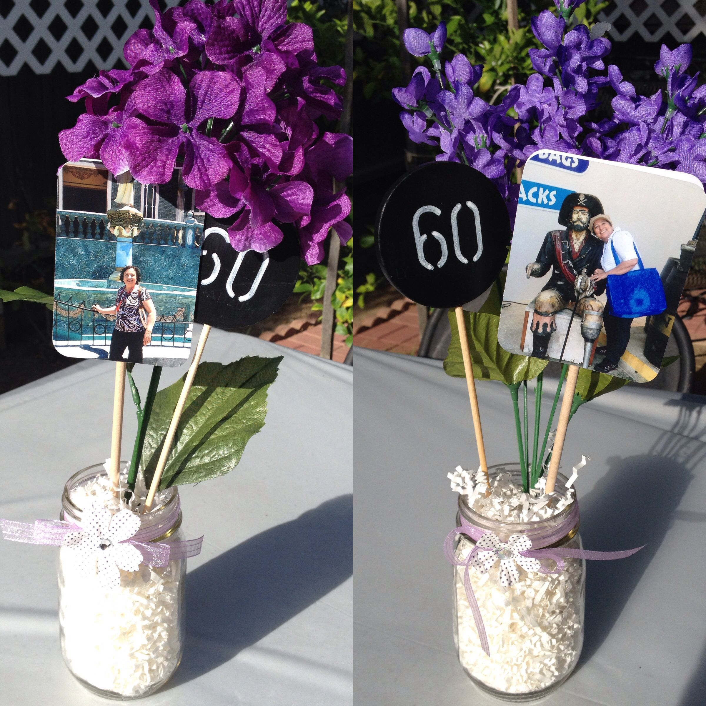 Table Centerpieces Mason Jars Birthday Decorations 60th