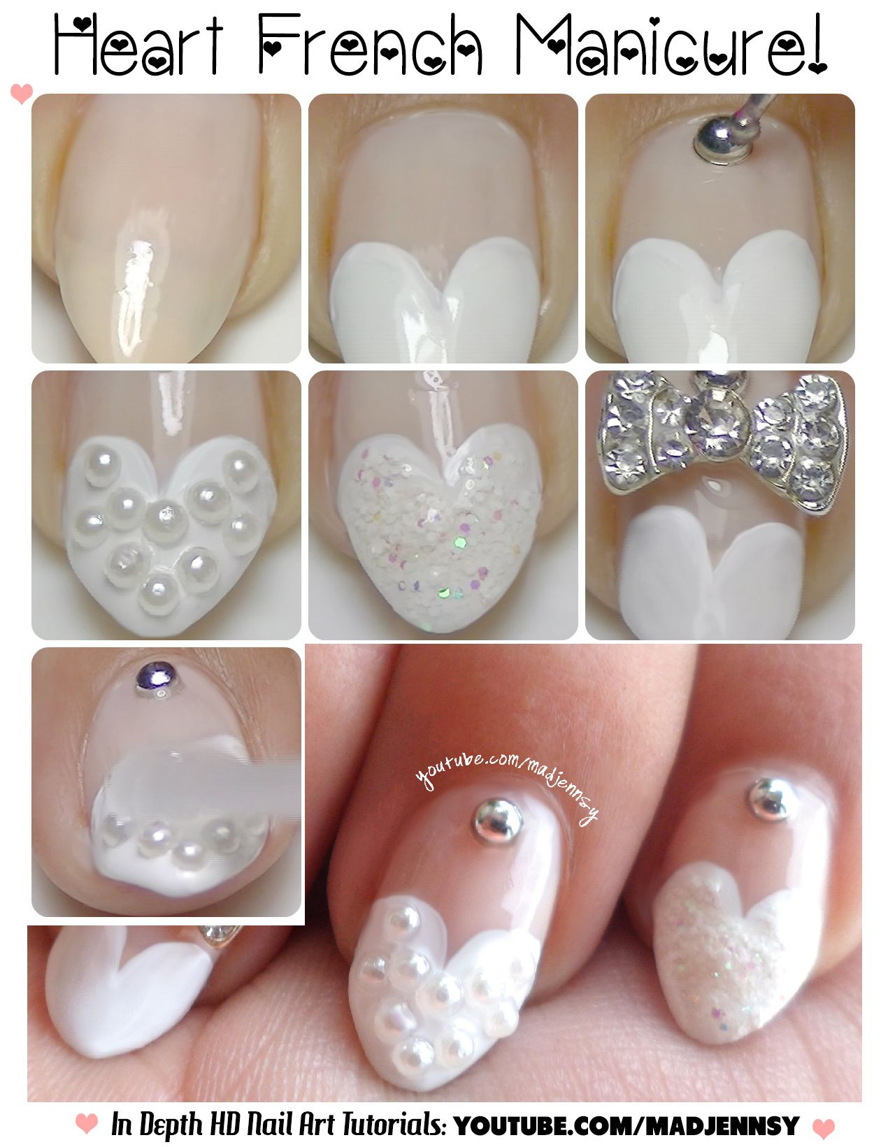 Heart Tip Nails Tutorial  Wedding Stilettos  HD Nail Video