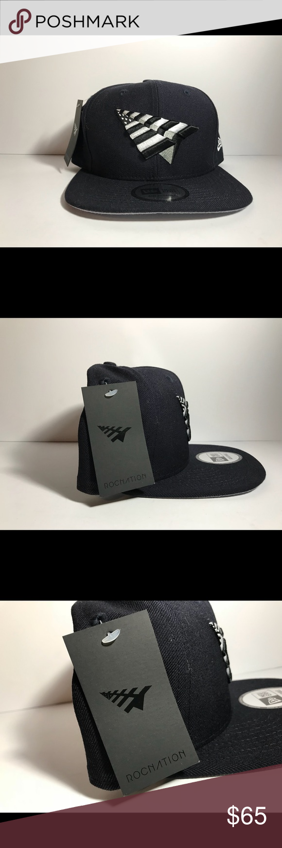 451b20a03ec Roc Nation Paper Plane Old School Crown Navy Grey Roc Nation Paper Plane  Old School Crown Snapback in Navy Grey Navy is a rare color!