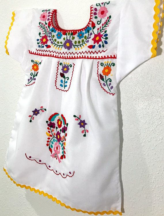 7bffe7c9d Mexican Baby Dress Embroidered White Fiesta Flower Girl Toddler Dress - 12  Months