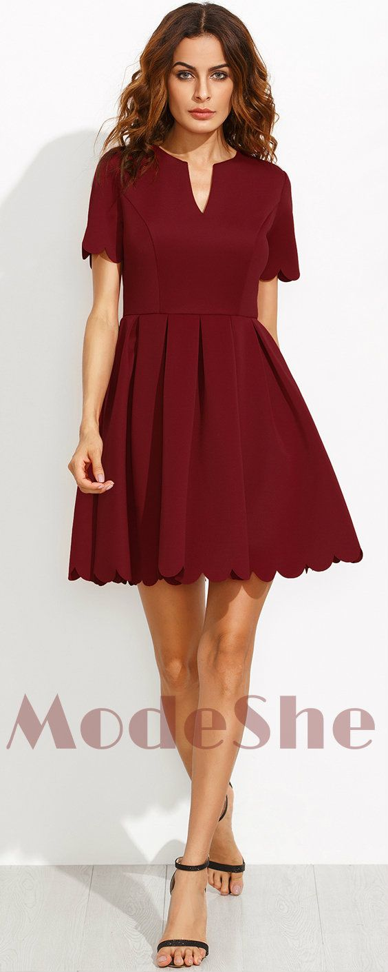 Burgundy Sweet Scallop Pleated Skater Fit and Flare Dress With Sleeve a1bbcf273