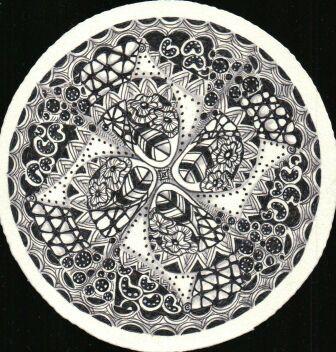 Zentangle Zendala #6, created by C. Bishop, CZT