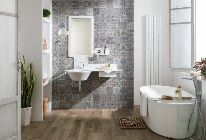 Parkett Imitation Badezimmer - Waschbecken - Fliesen - parkett für badezimmer