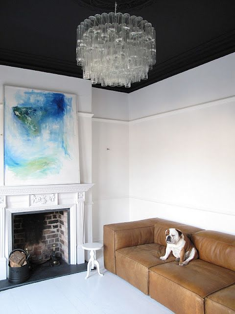 Love the dark ceiling and white walls