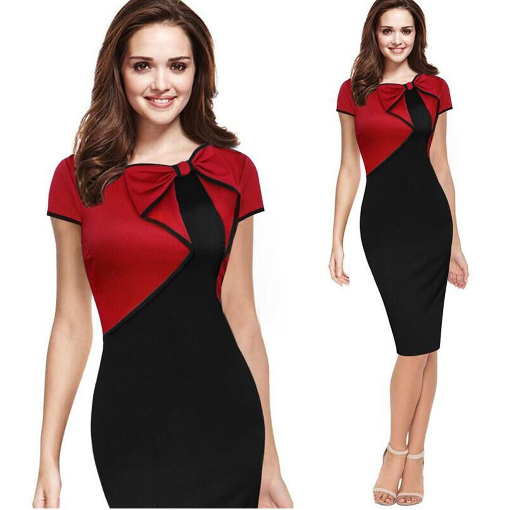 Women Sexy Elegant Business Work Office Pencil Dress Slim Party ...
