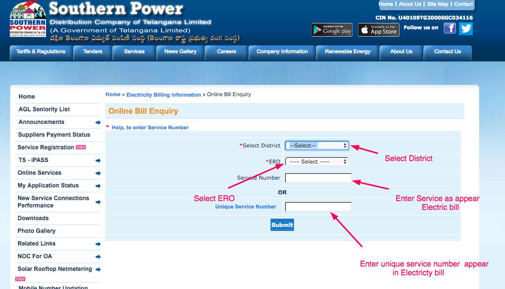 Tsspdcl Electricity Bill Payment Enquiry Online Billdesk