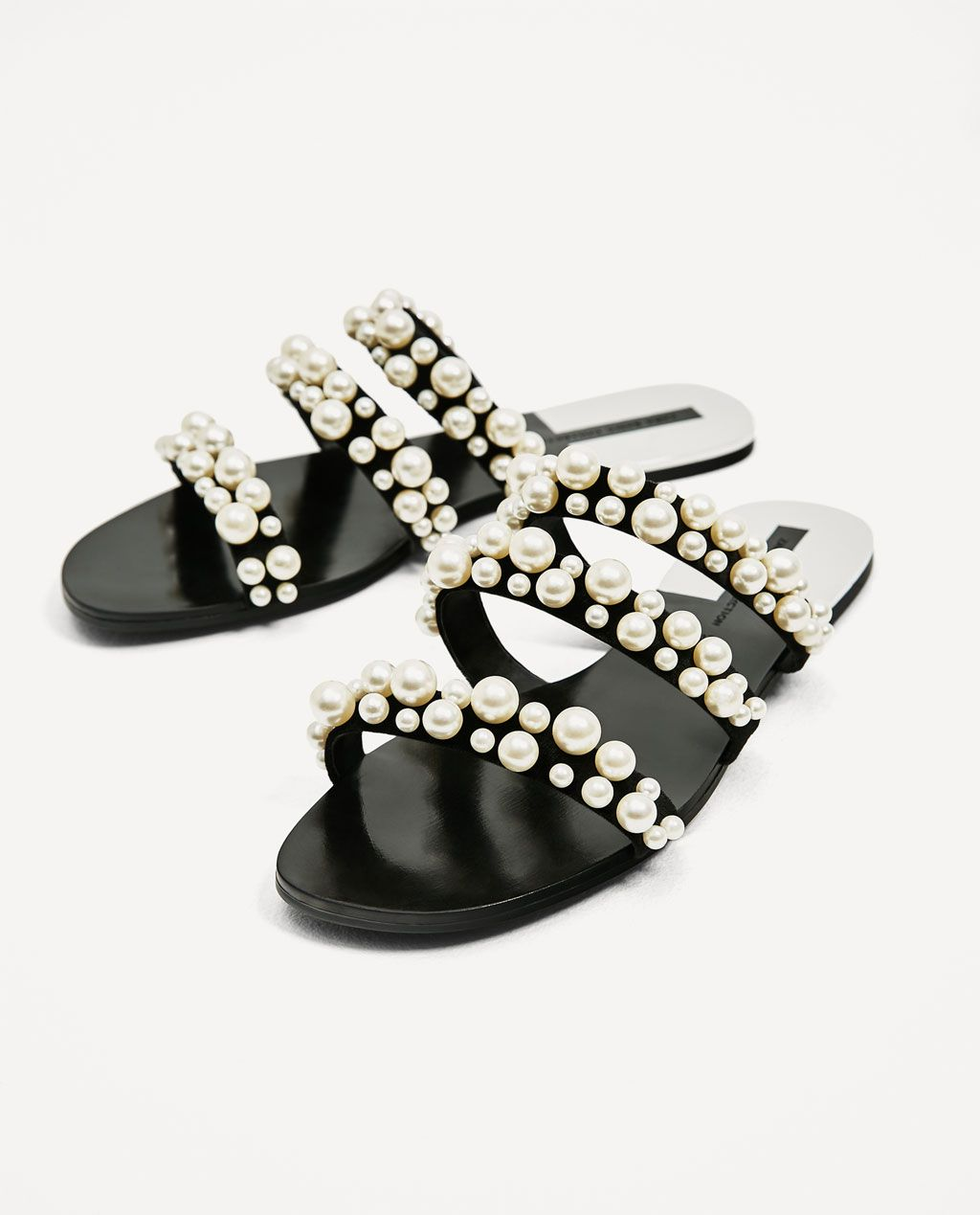 Black flat strappy sandals with beaded pearl detail fOD6mLhj
