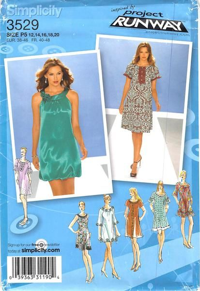 SIMPLICITY 3529 - FROM 2007 - UNCUT - MISSES PULLOVER DRESS
