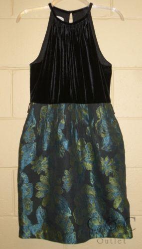 MADISON Sleeveless Halter Dress A-Line Velvet Brocade Black Green Size 8