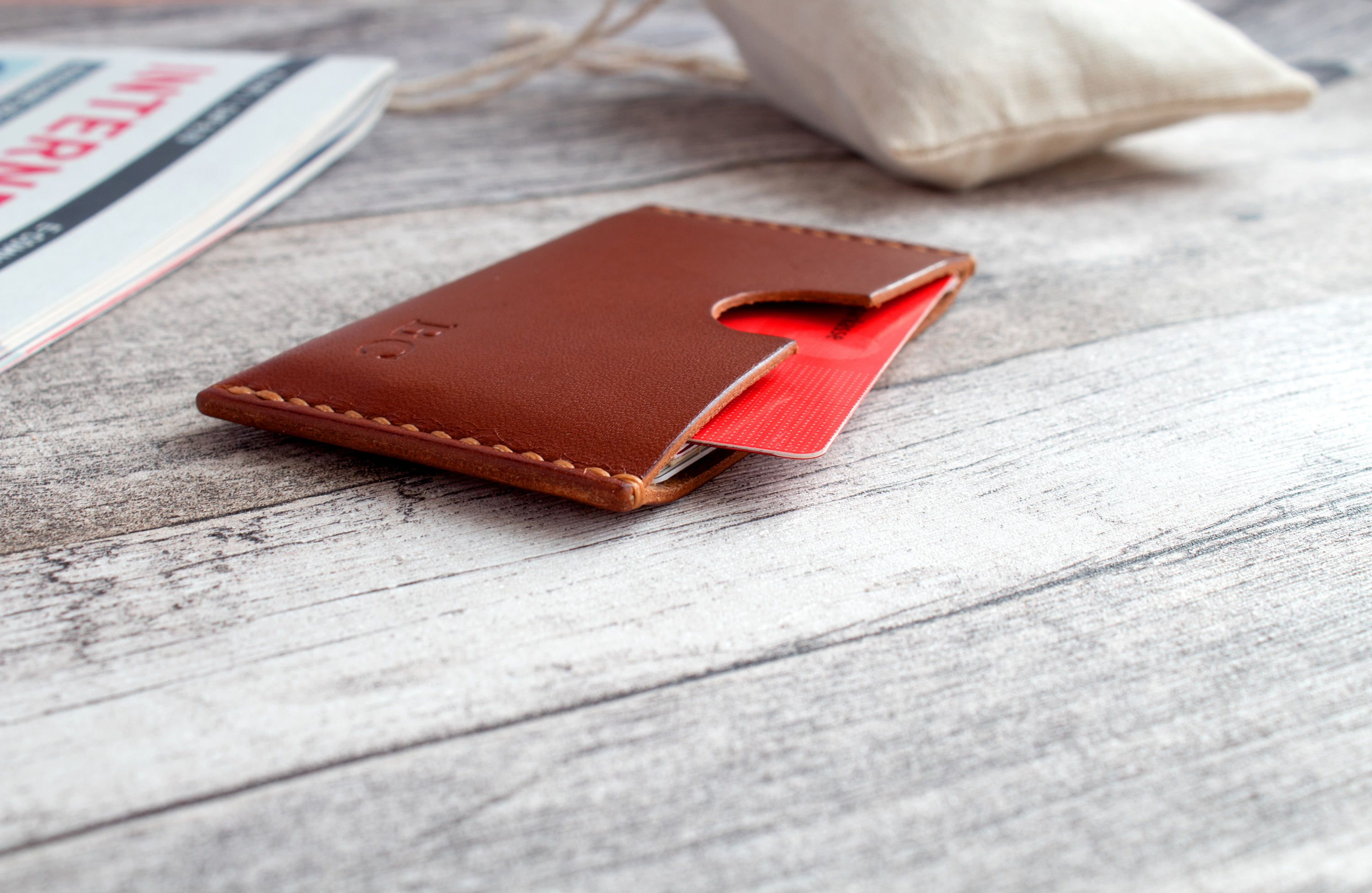 Leather Card Holder Front Pocket Wallet Gift Personalized
