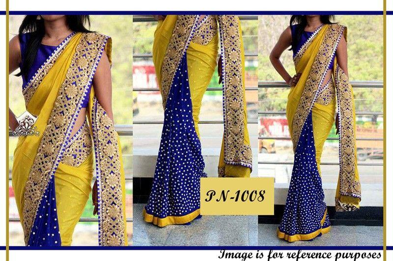 Mehndi Party Saree : Bollywood replica designer yellow & blue georgette saree pn