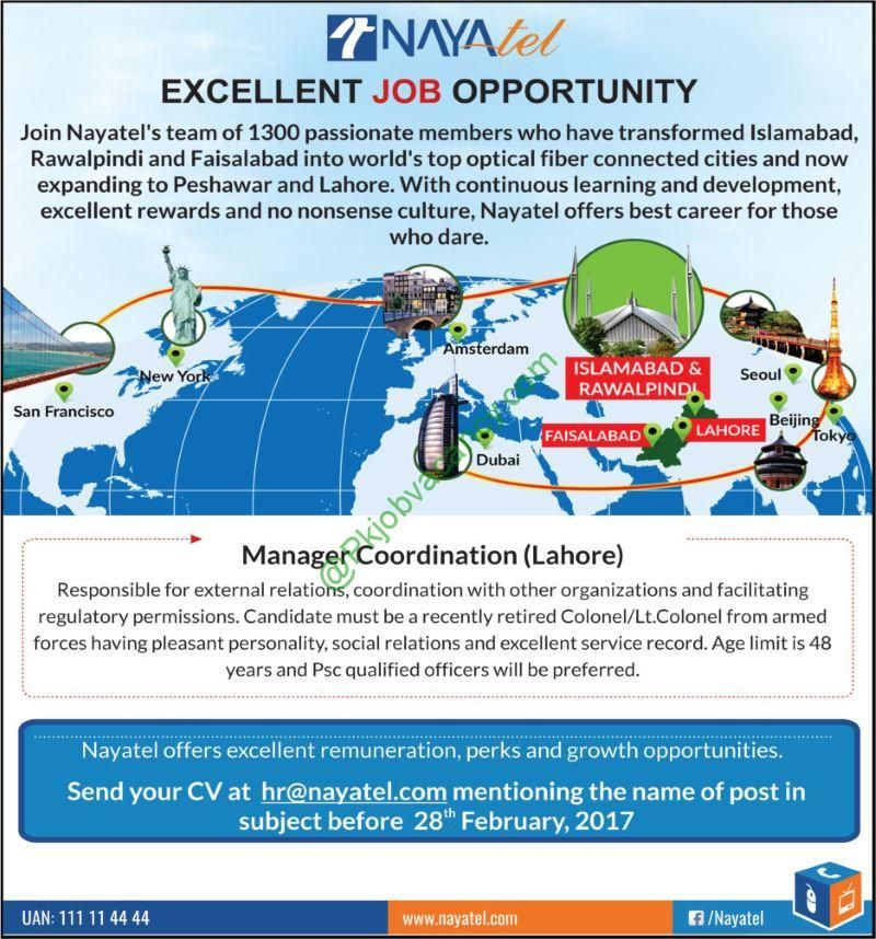 Nayatel Telecom Lahore Manager Coordination Jobs 2017