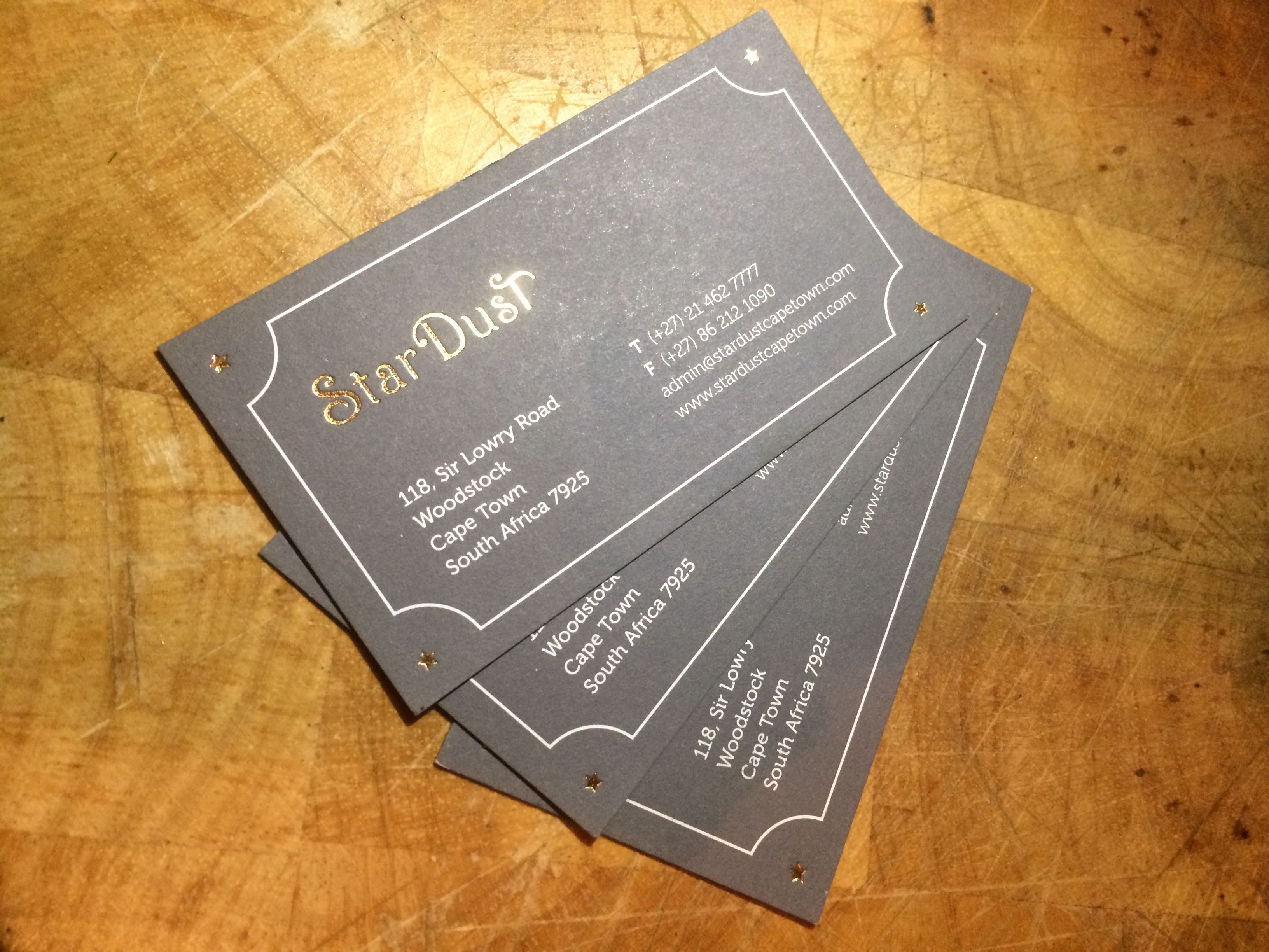 business card design stardust theatrical dining cape town