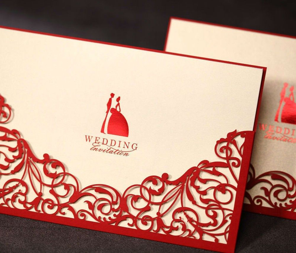 Design Laser Cut Floral Red Wedding invitations Cards Paper Rustic ...