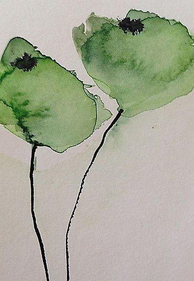 Kaufe Grune Mohnblumen Von Britta75 Auf Folgenden Produkten T Shirt Classic T Shirt Vi Green Art Painting Watercolor Flowers Paintings Abstract Watercolor