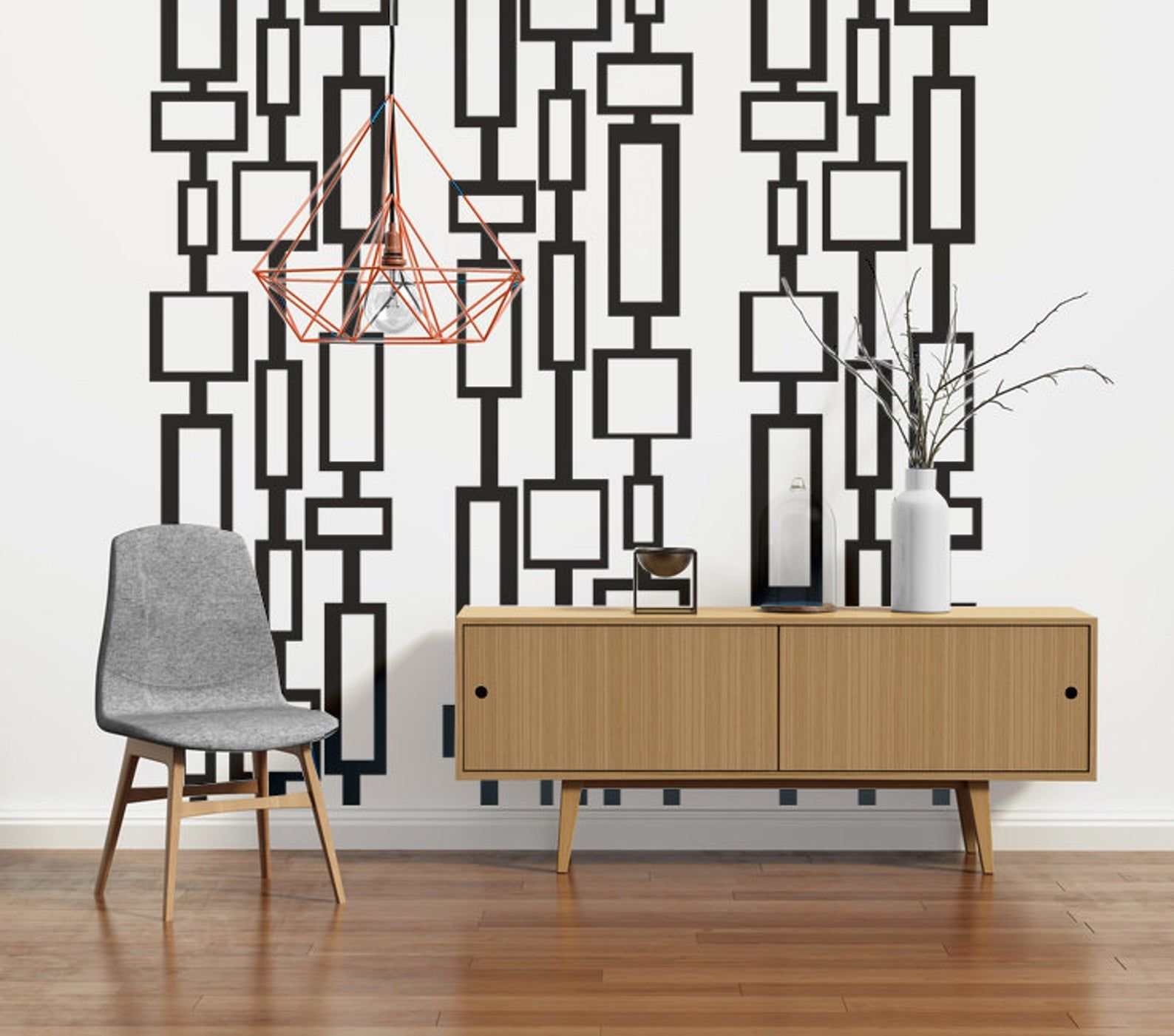 Mid Century Modern Decor Modern Wall Decals Mid Century Modern Wall Art Retro Wall Decal Geometric Wall Decals Modern Nursery Decor Mid Century Modern Decor Modern Decor Modern Nursery Decor