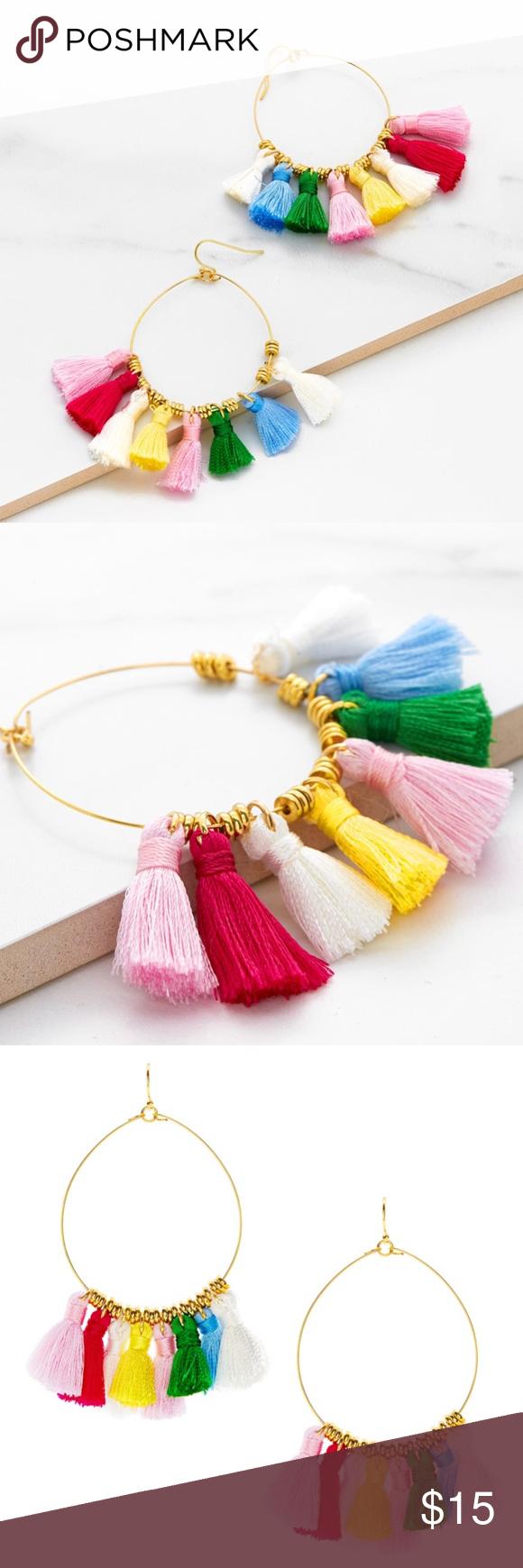 """bb55f7e13c •SHEIN• Multi-colored Tassel Hoop Earrings NWT Gold with Multi-colored  tassels Eardrop Width: 2"""" Eardrop Height: 4"""" SHEIN Jewelry Earrings"""