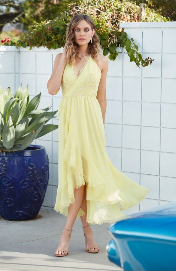 Great Yellow Summer Wrap Dress for Wedding Guest