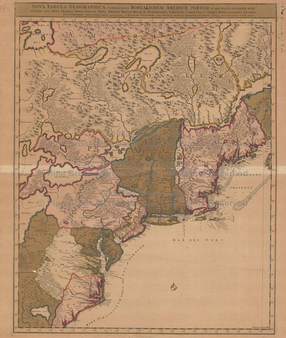 United States Old Map Schenk 1715 Digital Image Scan Download