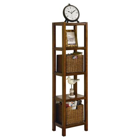 Display cherished family photos and your favorite curios in sleek style with this warm oak-finished wood etagere, featuring 4 tiers and 2 complementing wicke...