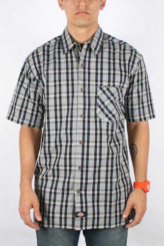 Dickies men s work short sleeve plaid camp impulse for Mens short sleeve camp shirts
