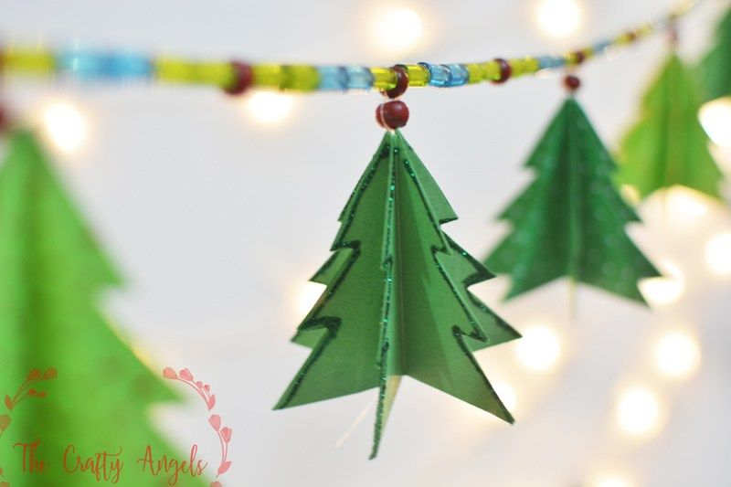 Diy Paper Christmas Tree Garland Christmas Tree Decor Christmas Tree Ornament Diy Christmas Tree Decorations Diy Diy Christmas Paper Christmas Tree Garland