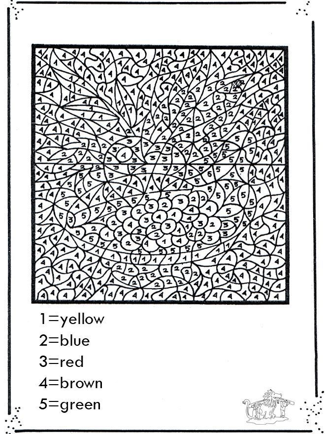 difficult color by number printable worksheets | adult coloring ...