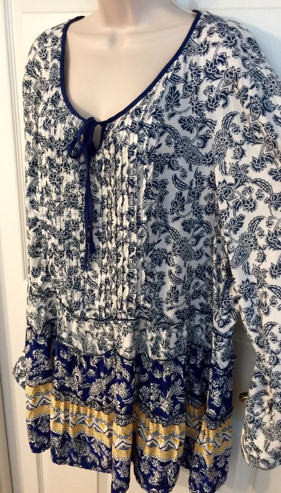 0a966545d82fa Style Co Floral Peasant Tunic Top Women s Size 2X Tie Neck Tassels Tab  Sleeve