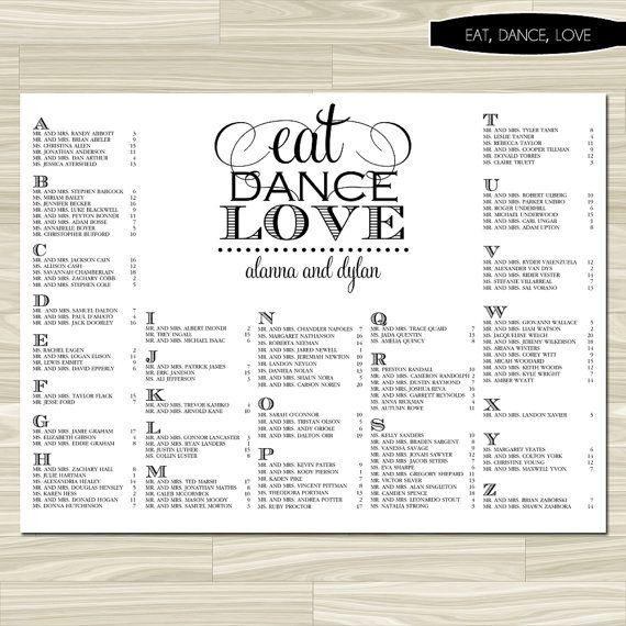 Wedding Seating Chart Eat Dance Love By Replybydesignstudio