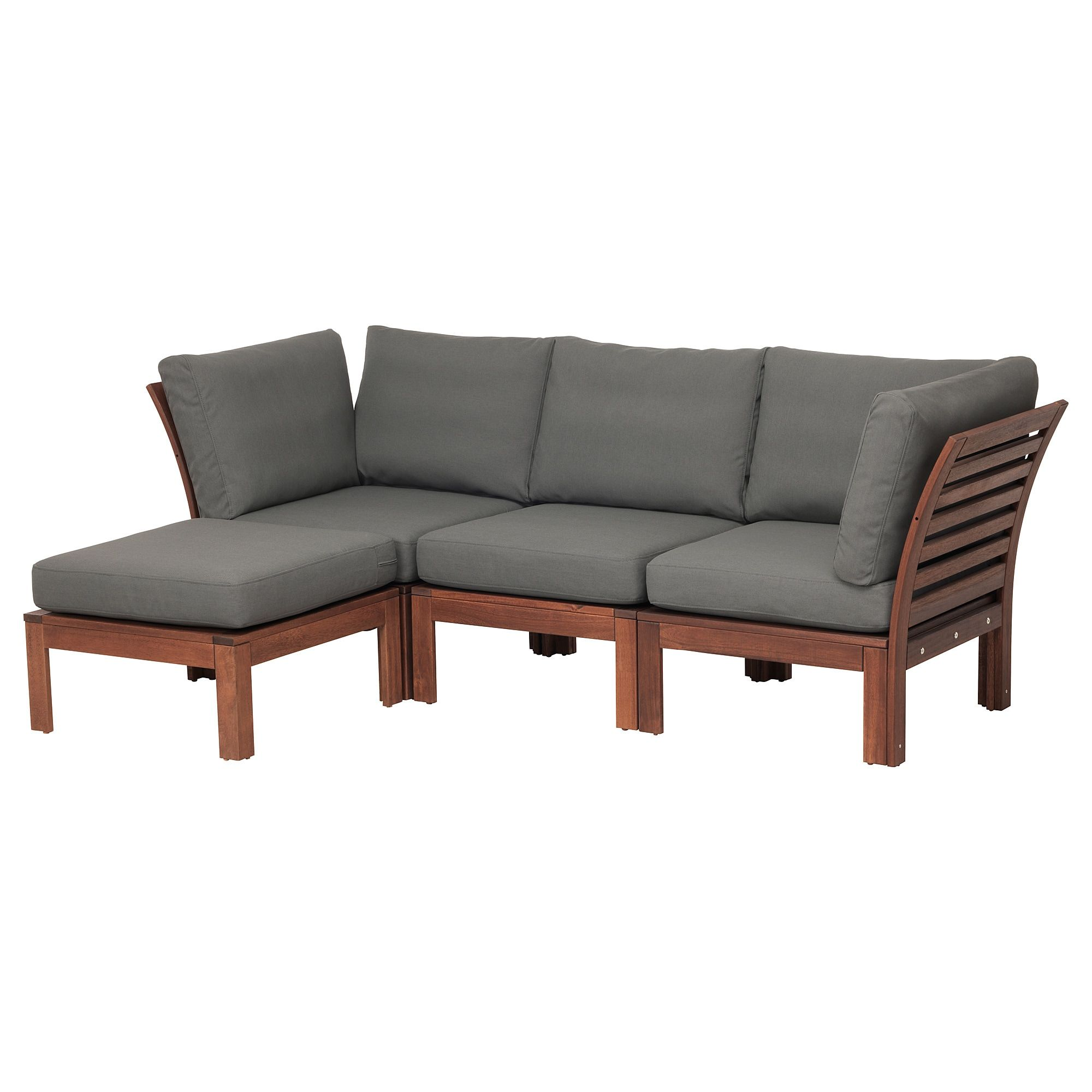 Applaro 3 Seat Modular Sofa Outdoor Brown Stained With Footstool Brown Stained Froson Duvholmen Dark Gray 56 1 4 87 3 4x31 1 2x33 1 8 With Images Outdoor Lounge Furniture Wooden Outdoor Furniture Modular Sofa