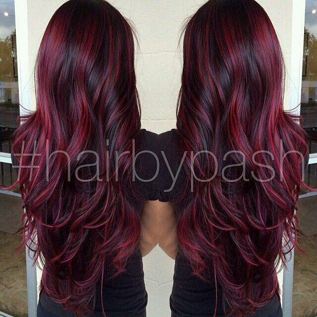 Love The Maroon And Black Mix Hair Styles Burgundy Hair Long Hair Styles