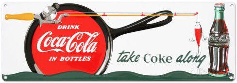Coca Cola - Coke Fishing Sign Targa in alluminio