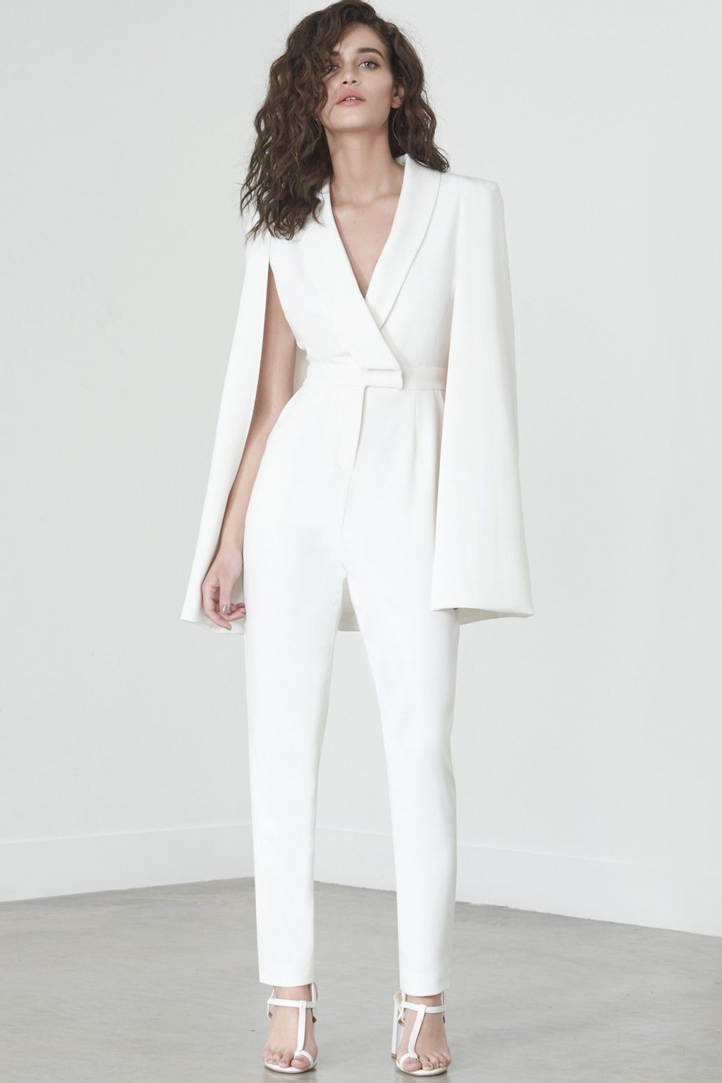 6f1d7fcf2be Caped Jumpsuit in White