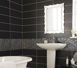 Bolero Anthracite tiles. Love a dark tiled bathroom