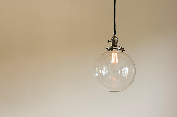 Glass globe pendant light fixture 10 hand blown glass globe globe 10 round clear glass globe pendant fixture by oldebricklighting 15500 mozeypictures Choice Image