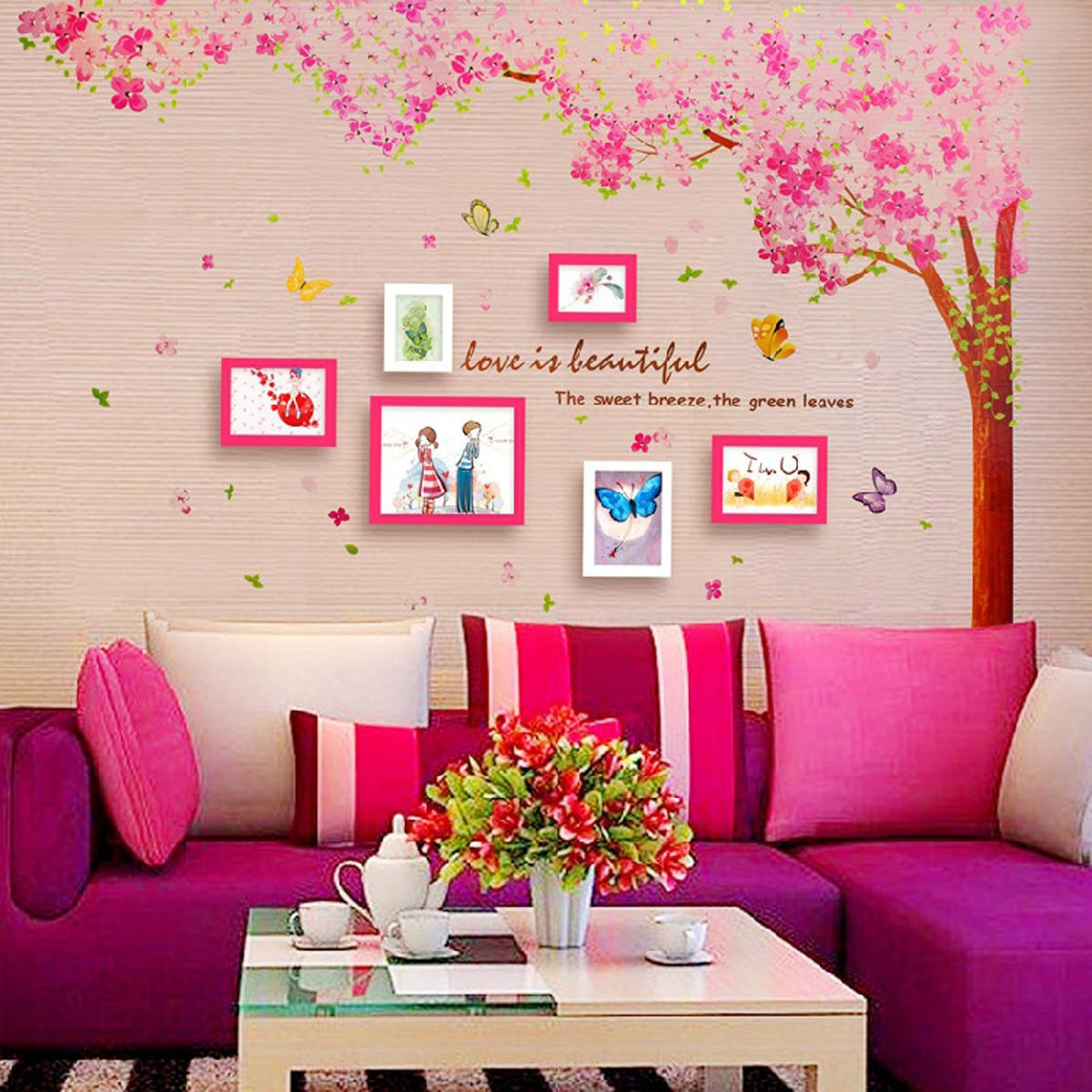 Large pink cherry blossom tree wall stickers art girls bedroom decal