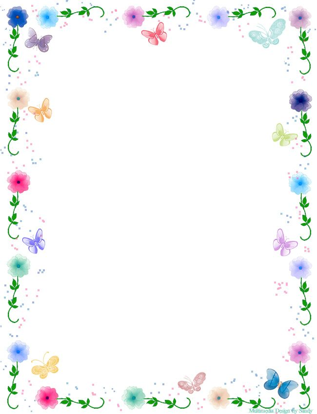 Floral Butterfly Border Stationery Flower patterns, Clip art and - downloadable page borders for microsoft word