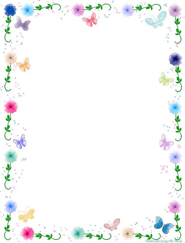 Papel de carta- Floral com borboletas | Artes | Pinterest | Flower ...