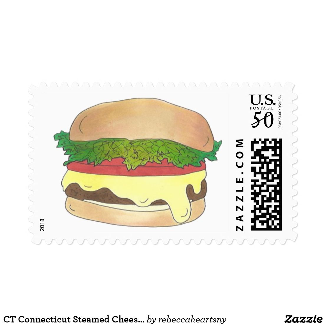 Ct Connecticut Steamed Cheese Burger Cheeseburger Postage Stamp Design Stamp Design Self Inking Stamps
