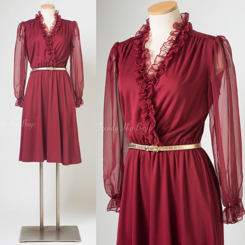 Vintage Dress Vintage Maroon Dress Vintage Ruffle Dress 70s Etsy Maroon Dress Dresses Vintage Formal Dresses [ 1500 x 1500 Pixel ]