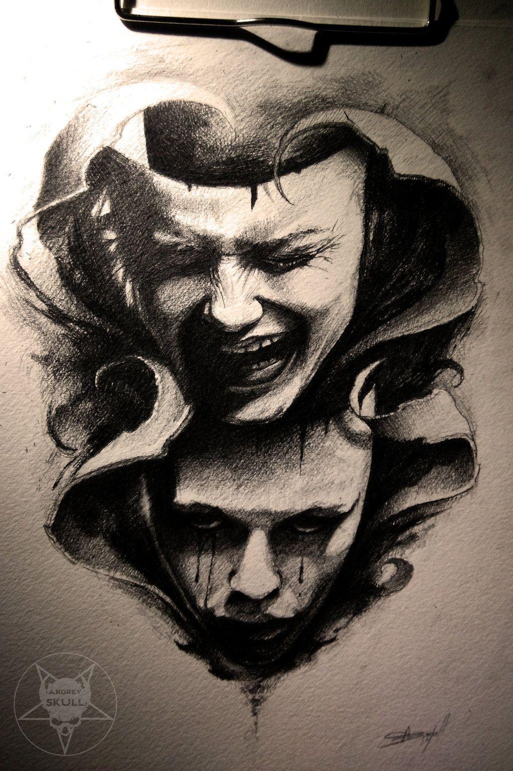 Skull Drama Face Tattoo: Theatre By AndreySkull.deviantart.com On @deviantART