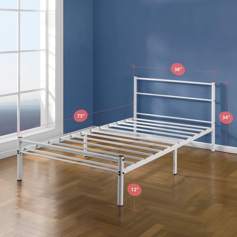 Amazon Com Zinus Geraldine 12 Inch White Metal Platform Bed Frame