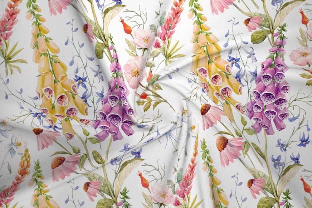 Dzianina Dresowa Drapana Naparstnica I Dzikie Kwiaty Na Bieli House Of Cotton Watercolor Pattern Print Patterns Sweatshirt Fabric