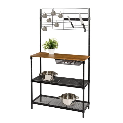 Honey Can Do Black Kitchen Work Station Brown With Images Bakers Rack Kitchen Tools Design Kitchen Storage Solutions