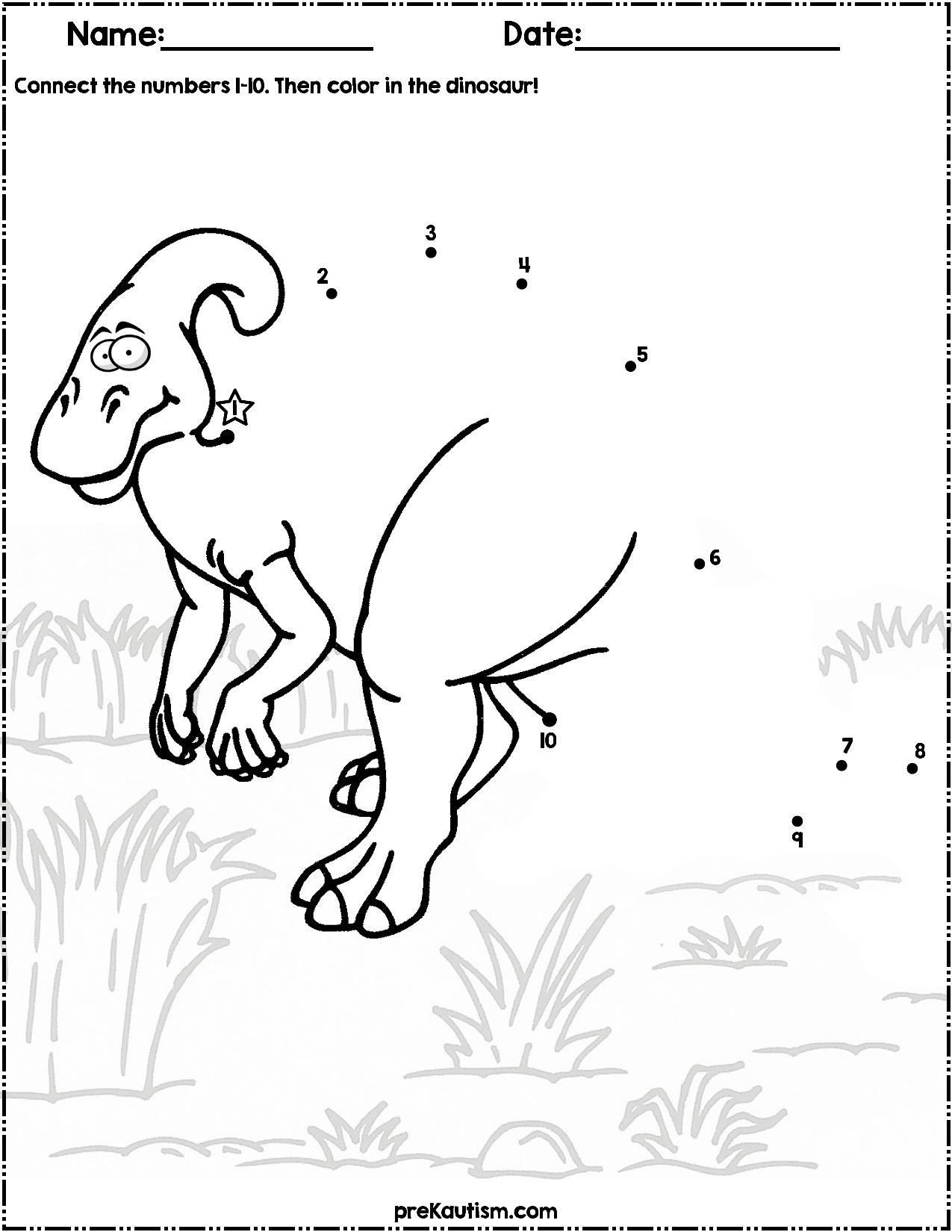 Dinosaur Dot to Dot   #1-10   Dinosaur [ 1650 x 1275 Pixel ]