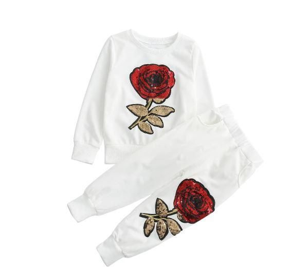Toddler Baby Girls Embroidery Sequin Rose Tops Pants Outfit Clothes Set